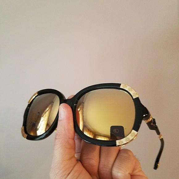 dd4d91615f9c Chrome Hearts Accessories - Chrome Hearts Black Yellow Gold Mirror  Sunglasses